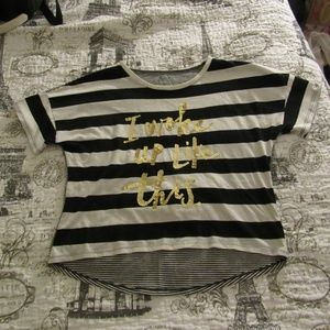 Forever 21 Tops - Black and White Text Tee